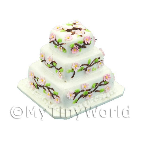 Dolls House Miniature 3 Tier Square Flower Cake