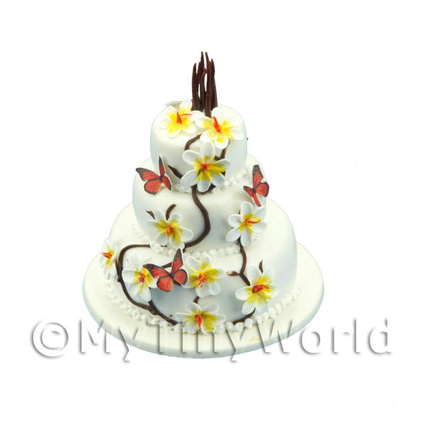 Dolls House Miniature 3 Tier Butterfly Cake