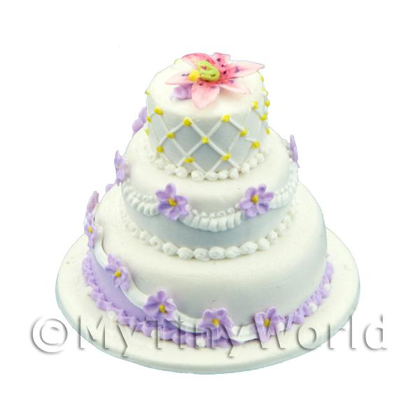 Dolls House Miniature 3 Tier White And Violet Cake