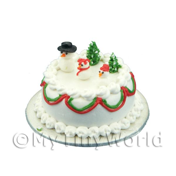 Dolls House Miniature  | Dolls House Miniature Snowman Themed Christmas Cake