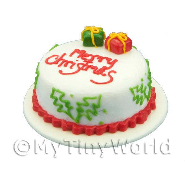 Dolls House Miniature  | Dolls House Miniature Christmas Cake With Parcels