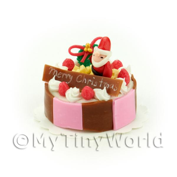 Dolls House Miniature  | Miniature Pink and Brown Father Christmas Topped Cake