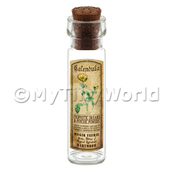 Dolls House Apothecary Calendula Herb Long Colour Label And Bottle