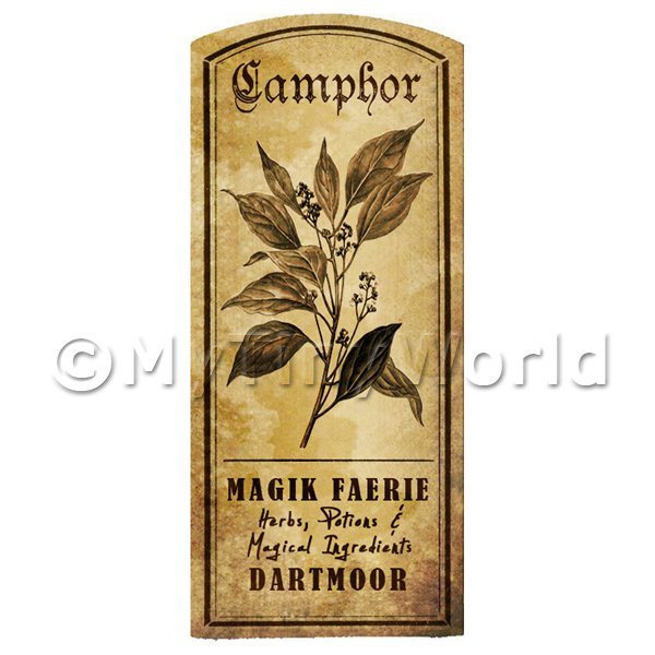 Dolls House Herbalist/Apothecary Camphor Herb Short Sepia Label