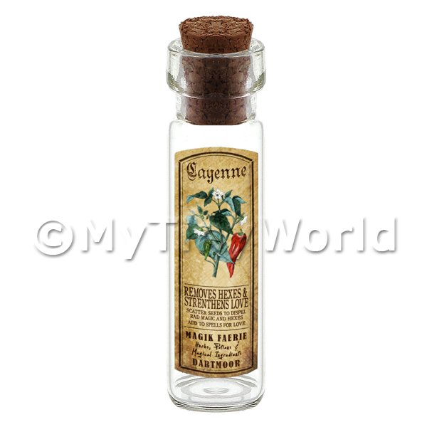 Dolls House Apothecary Cayenne Herb Long Colour Label And Bottle