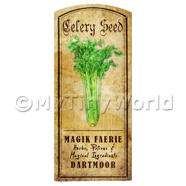 Dolls House Miniature  | Dolls House Herbalist/Apothecary Celery Seed Herb Short Colour Label
