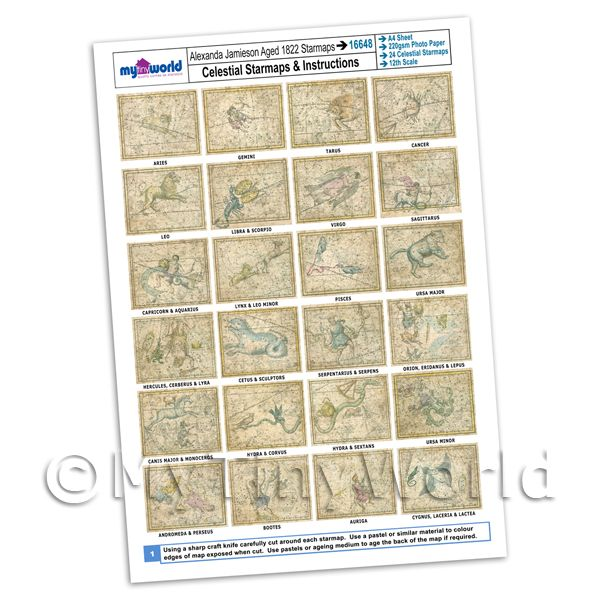 Dolls House Miniature  | Dolls House Complete Set Aged Star Maps 1800s A4 Value Sheet