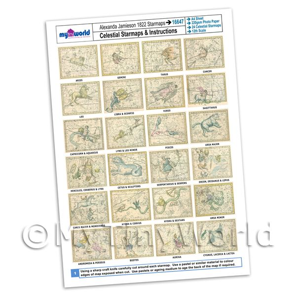Dolls House Miniature  | Dolls House Complete Set Star Maps 1800s A4 Value Sheet