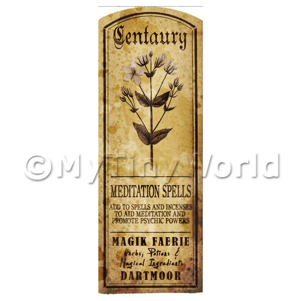 Dolls House Miniature  | Dolls House Herbalist/Apothecary Centaury Herb Long Sepia Label