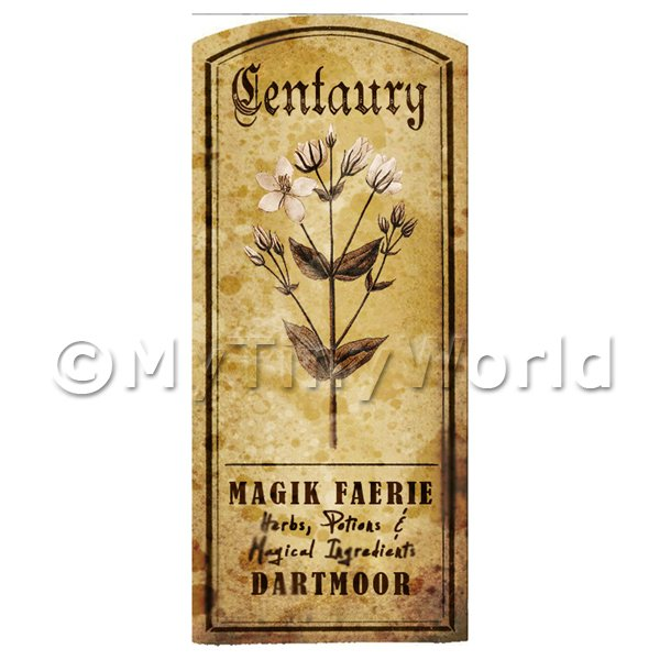 Dolls House Herbalist/Apothecary Centuary Herb Short Sepia Label