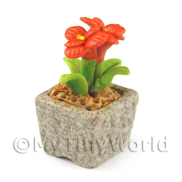 Miniature Handmade Dark Orange Coloured Ceramic Flower (CFDO3)