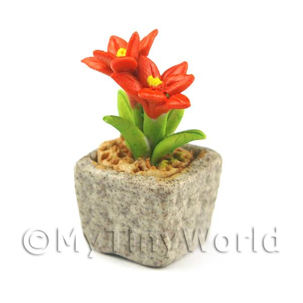 Dolls House Miniature  | Miniature Handmade Dark Orange Coloured Ceramic Flower (CFDO4)
