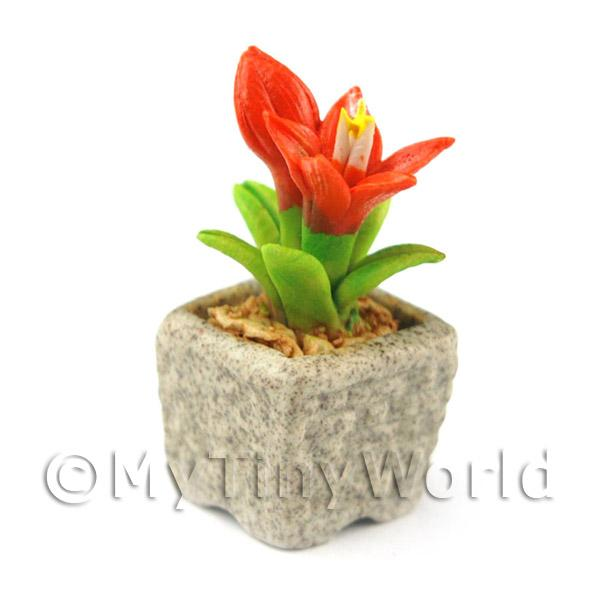 Miniature Handmade Dark Orange Coloured Ceramic Flower (CFDO9)