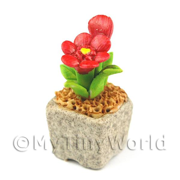 Miniature Handmade Red Coloured Ceramic Flower (CFR11)