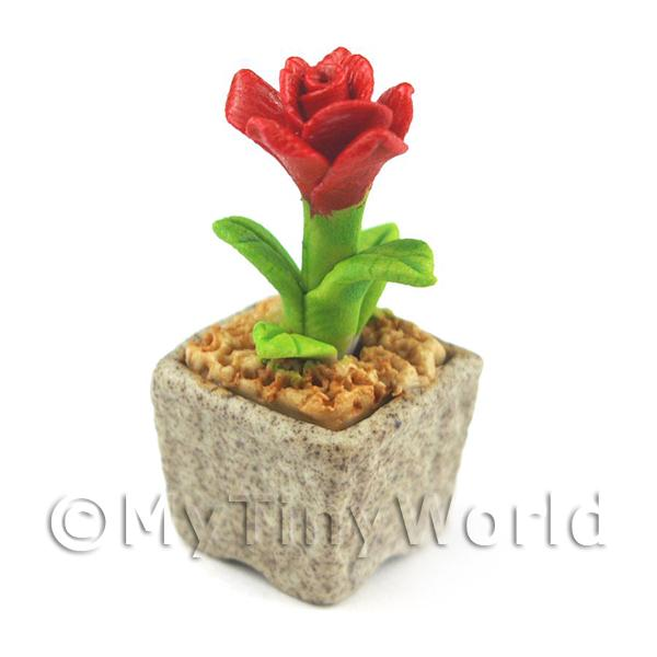 Dolls House Miniature  | Miniature Handmade Red Coloured Ceramic Flower (CFR6)