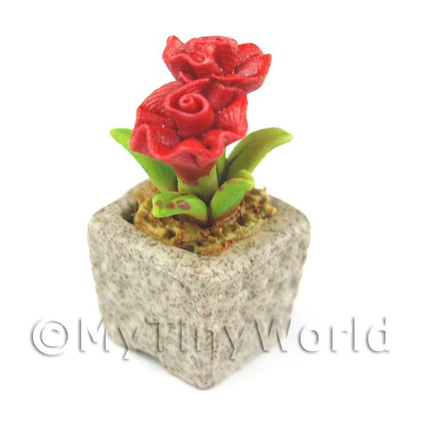 Miniature Handmade Red Coloured Ceramic Flower (CFR1)