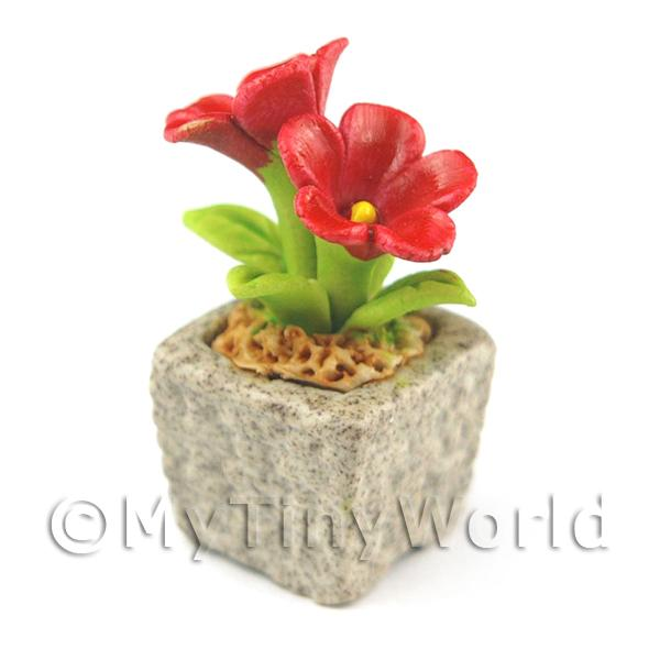 Miniature Handmade Red Coloured Ceramic Flower (CFR7)