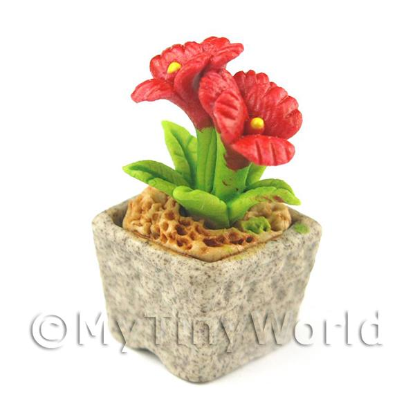 Miniature Handmade Red Coloured Ceramic Flower (CFR2)