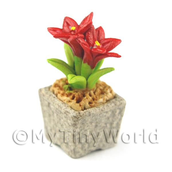 Miniature Handmade Red Coloured Ceramic Flower (CFR8)