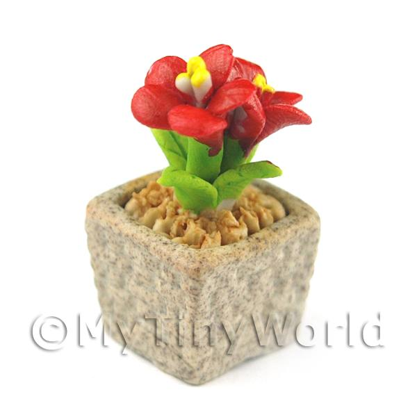 Miniature Handmade Red Coloured Ceramic Flower (CFR4)