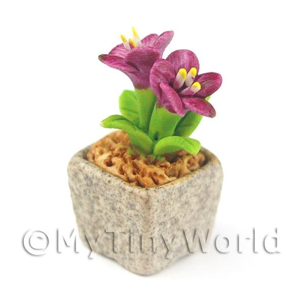 Miniature Handmade Purple Coloured Ceramic Flower (CFPU5)