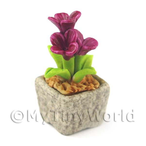 Miniature Handmade Purple Coloured Ceramic Flower (CFPU13)