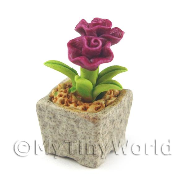Miniature Handmade Purple Coloured Ceramic Flower (CFPU2)