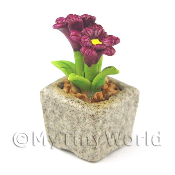 Miniature Handmade Purple Coloured Ceramic Flower (CFPU8)