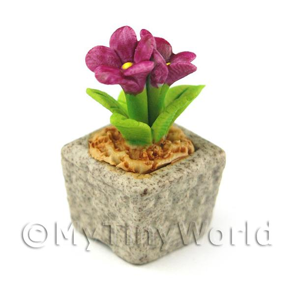 Miniature Handmade Purple Coloured Ceramic Flower (CFPU11)