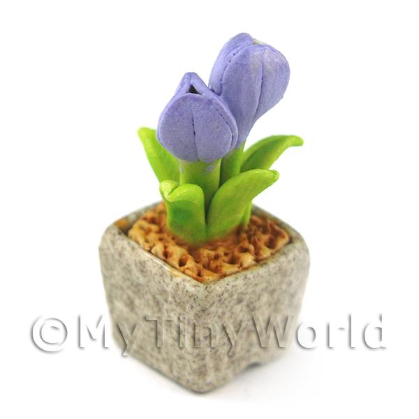 Miniature Handmade Violet Coloured Ceramic Flower (CFV7)