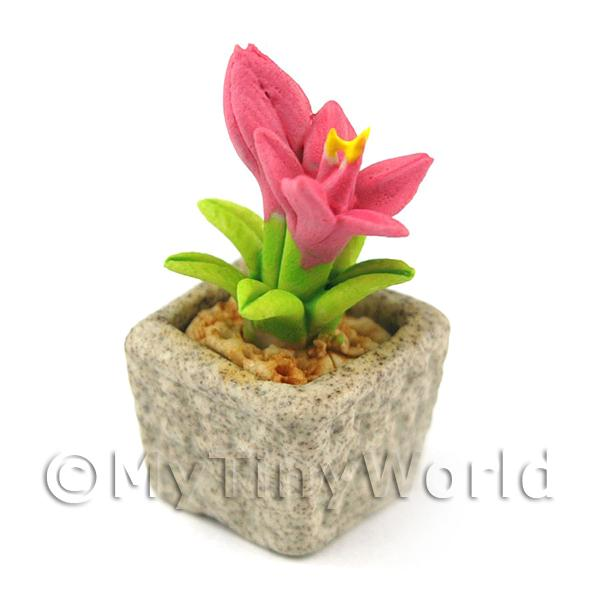 Dolls House Miniature  | Miniature Handmade Pink Coloured Ceramic Flower (CFP14)