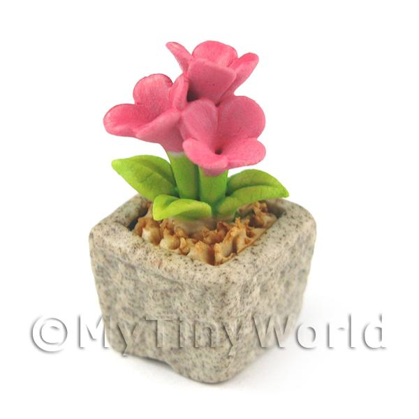 Dolls House Miniature  | Miniature Handmade Pink Coloured Ceramic Flower (CFP13)