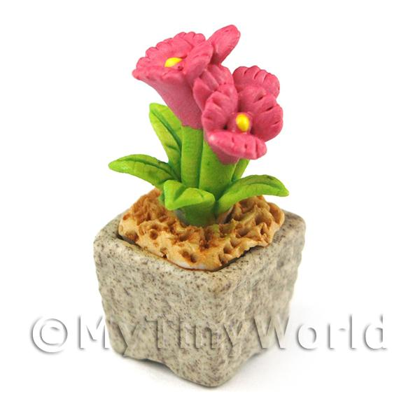 Dolls House Miniature  | Miniature Handmade Pink Coloured Ceramic Flower (CFP6)