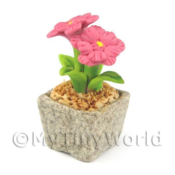 Miniature Handmade Pink Coloured Ceramic Flower (CFP7)