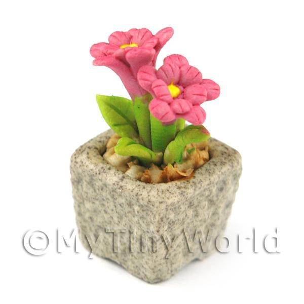 Dolls House Miniature  | Miniature Handmade Pink Coloured Ceramic Flower (CFP11)