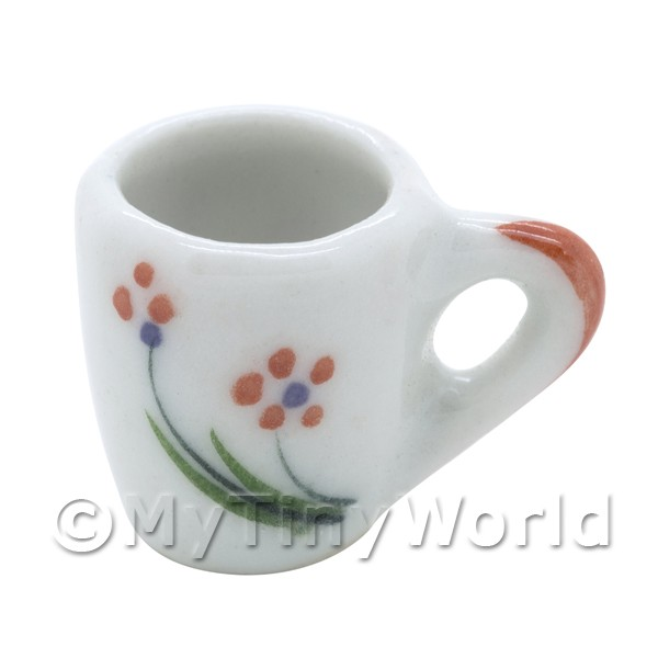 Dolls House Miniature Orange Flower Design Ceramic Mug