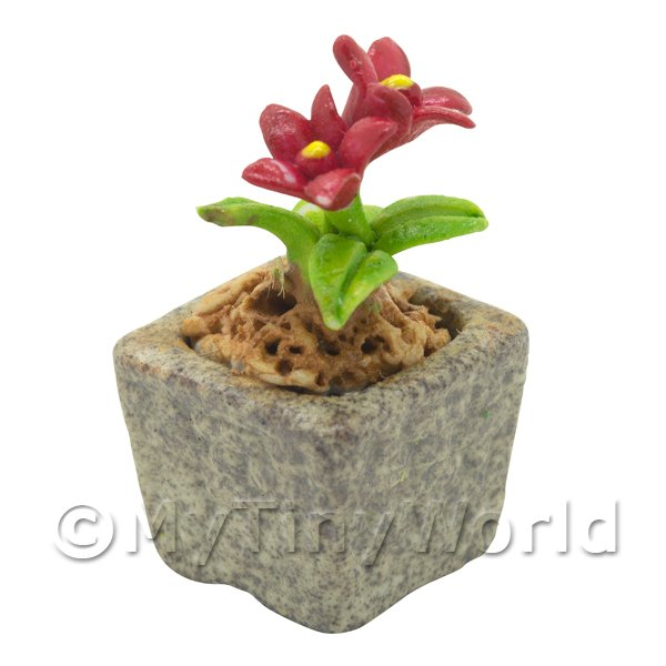 Miniature Handmade Red Coloured Ceramic Flower (CFR16)