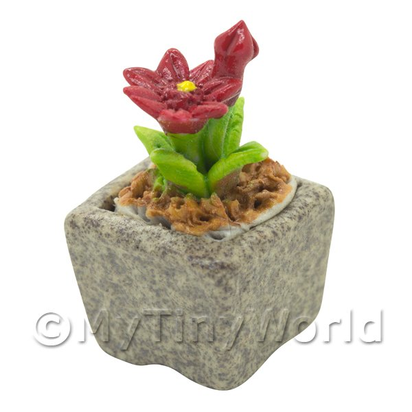 Miniature Handmade Red Coloured Ceramic Flower (CFR18)