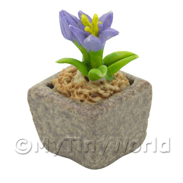 Miniature Handmade Violet Coloured Ceramic Flower (CFV16)
