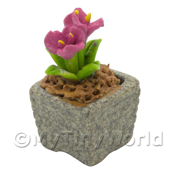 Dolls House Miniature  | Miniature Handmade Pink Coloured Ceramic Flower (CFP15)