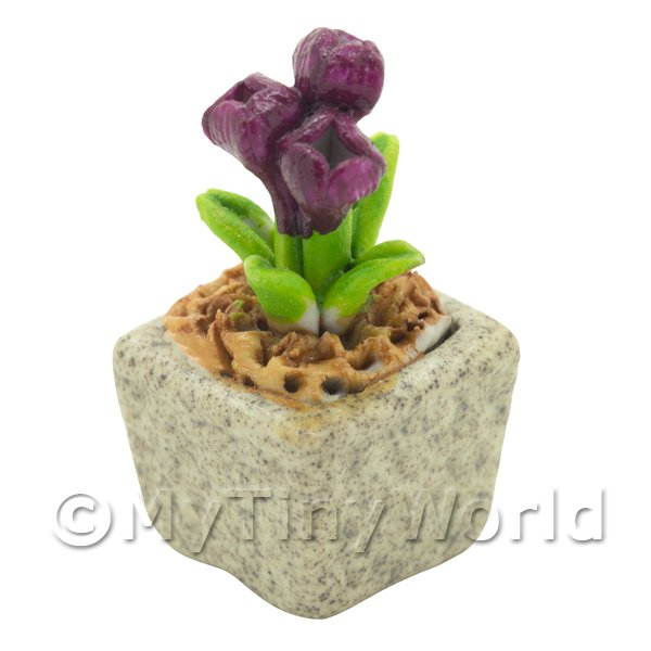 Miniature Handmade Purple Coloured Ceramic Flower (CFPU15)