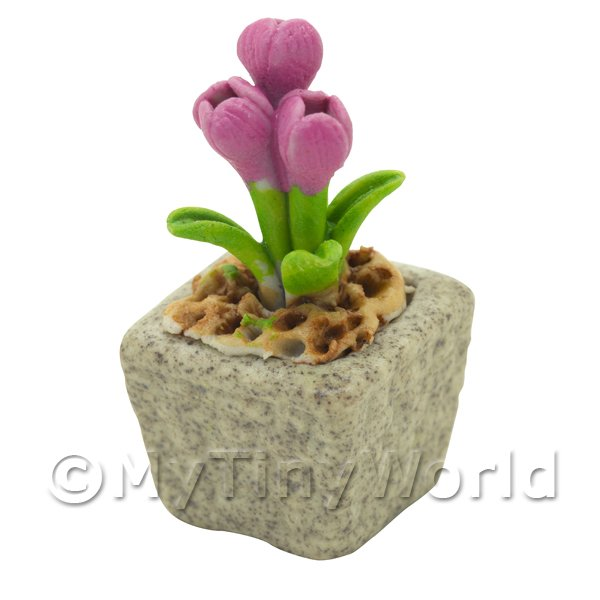 Dolls House Miniature  | Miniature Handmade Pink Coloured Ceramic Flower (CFP20)