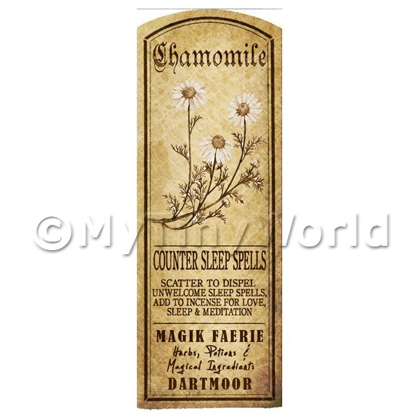 Dolls House Miniature  | Dolls House Herbalist/Apothecary Chamomile Plant Herb Long Sepia Label