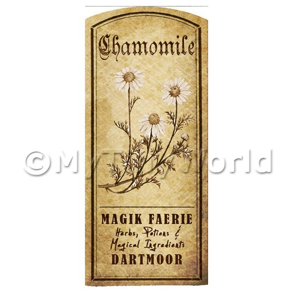 Dolls House Herbalist/Apothecary Chamomile Herb Short Sepia Label