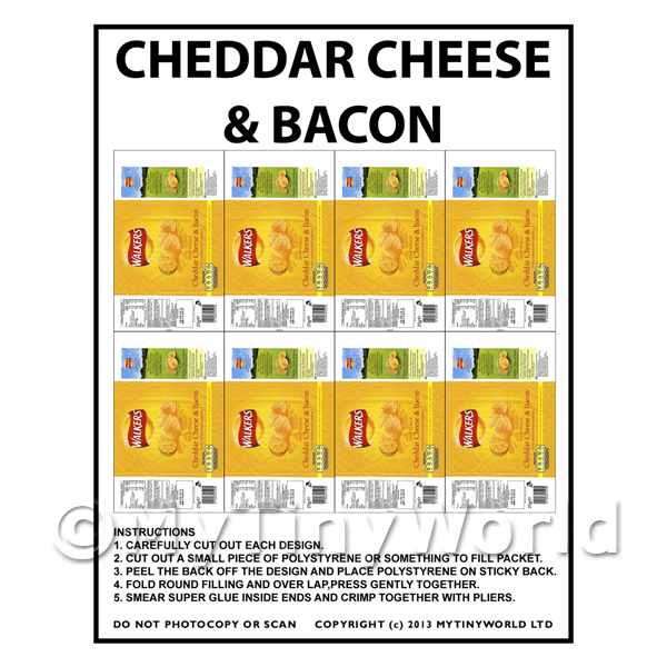 Dolls House Miniature Packaging Sheet of 8 Walkers Cheese & Bacon Crisps