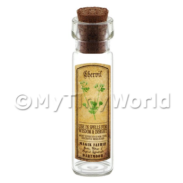 Dolls House Apothecary Chervil Herb Long Colour Label And Bottle