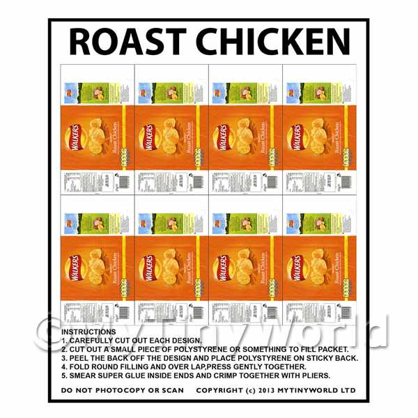 Dolls House Miniature Packaging Sheet of 8 Walkers Roast Chicken Crisps