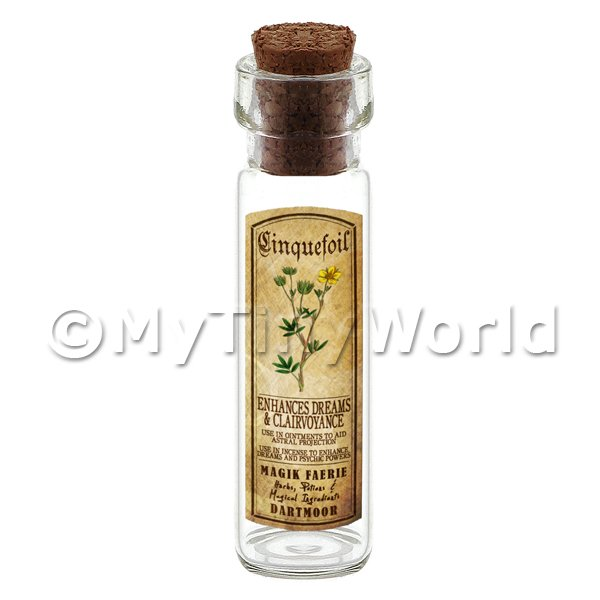 Dolls House Apothecary Cinquefoil Herb Long Colour Label And Bottle