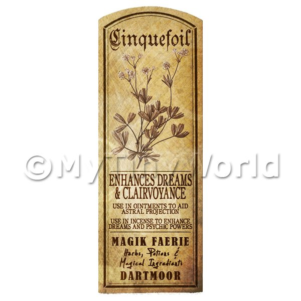 Dolls House Miniature  | Dolls House Herbalist/Apothecary Cinquefoil Plant Herb Long Sepia Label