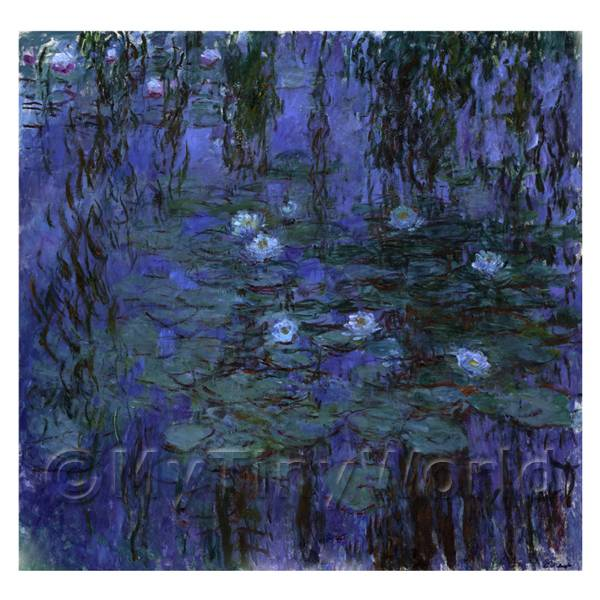 Claude Monet Painting  Blue Water Lilies